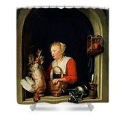 The Dutch Housewife Or The Woman Hanging A Cockerel In The Window 1650 Shower Curtain