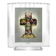 The Easter Cross Shower Curtain by War Is Hell Store