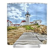 The Eastern Point Lighthouse In Gloucester Shower Curtain