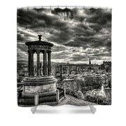 The Edinburgh Skyline, And Dugald Stewart Monument. Shower Curtain