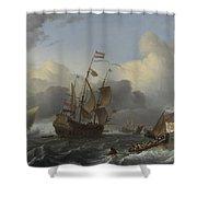 The Eendracht And A Fleet Of Dutch Men Of War Shower Curtain