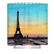 The Eiffel Tower At Sunset Shower Curtain
