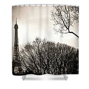 The Eiffel Tower In Backlighting. Paris. France. Europe. Shower Curtain