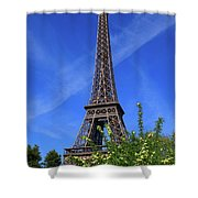 The Eiffel Tower In Spring Shower Curtain