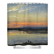 The Elbe In Evening Light Shower Curtain