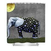 The Elephant And The Moon Shower Curtain