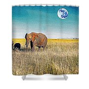 The Elephant Herd Shower Curtain