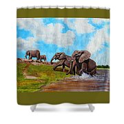 The Elephants Rise Shower Curtain