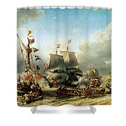 The Embarkation Of Ruyter And William De Witt In 1667 Shower Curtain