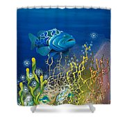 The Emerald Grouper Shower Curtain