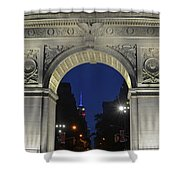 The Empire State Building Through The Washington Square Arch Shower Curtain