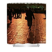 The Entrance To The Western Wall At Night Shower Curtain