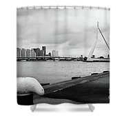 The Erasmus Bridge In Rotterdam Bw Shower Curtain