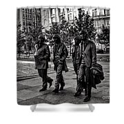 The Fab Four In Black And White Shower Curtain