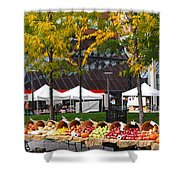The Fall Harvest Is In Kendall Square Farmers Market Foliage Shower Curtain