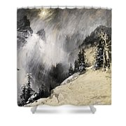 The Falling Flakes Mountain Scene. Yosemite A Mountain Snowfall Shower Curtain