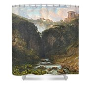 The Falls Of Tivoli With The Temple Of Vesta  Shower Curtain