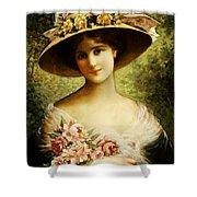 The Fancy Bonnet Shower Curtain by Emile Vernon
