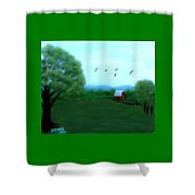 The Farm Below The Mountains Shower Curtain