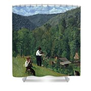 The Farmer And His Son At Harvesting Shower Curtain