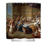 The Feast Of Dido And Aeneas. An Allegorical Portrait Of The Family Of The Duc And Duchesse Du Maine Shower Curtain
