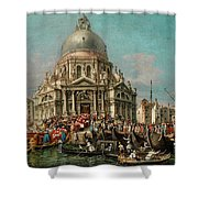 The Feast Of The Madonna Della Salute In Venice Shower Curtain