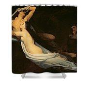 The Figures Of Francesca Da Rimini And Paolo Da Verrucchio Appear To Dante And Virgil Shower Curtain