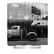 The Fill-in Station Shower Curtain by Michael Tesar