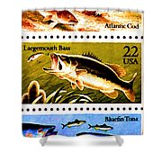 The Fish Stamps Shower Curtain by Lanjee Chee
