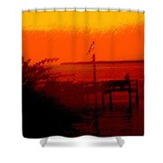 The Flag Flying Free In Florida Shower Curtain