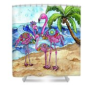 The Flamingo Family's Day At The Beach Shower Curtain