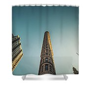The Flatiron Building Towering Over Manhattan Shower Curtain