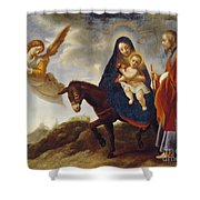 The Flight Into Egypt Shower Curtain by Carlo Dolci