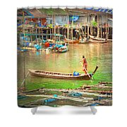 The Floating Village Shower Curtain
