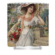The Flower Girl Shower Curtain by Emile Vernon