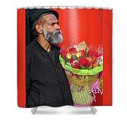 The Flower Vendor - Man Selling Roses Shower Curtain
