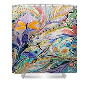 The Flowers And Dragonflies Shower Curtain