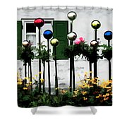 The Flowers And The Balls Shower Curtain