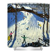 The Footbridge Shower Curtain by Andrew Macara