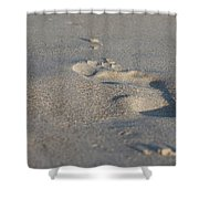 The Footprint Of Invisible Man On The Sand Shower Curtain
