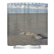 The Footprint Of Invisible Man The Sand And The Sea Shower Curtain