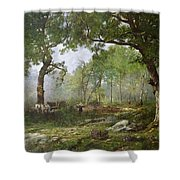 The Forest Of Fontainebleau Shower Curtain by Leon Richet