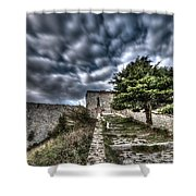 The Fortress The Tree The Clouds Shower Curtain by Enrico Pelos
