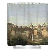 The Forum Seen From The Farnese Gardens Shower Curtain by Jean Baptiste Camille Corot