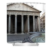 The Fountain In Front Of Pantheon Shower Curtain