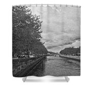 The Four Courts In Reconstruction 3 Bw Shower Curtain