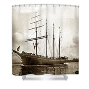 The Four-masted Barkentine  Jane Stanford Built By Hans Bendixse 1892 Shower Curtain