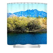 The Four Peaks From Saguaro Lake Shower Curtain