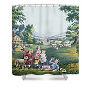 The Four Seasons Of Life Childhood Shower Curtain by Currier and Ives