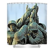 The Front Up Close -- The Iwo Jima Monument Shower Curtain